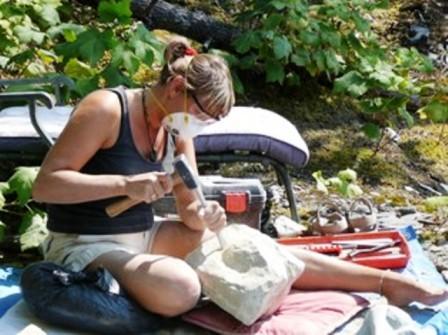 Barbara Maye carving stone at Serenity Views