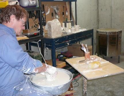 Potter's wheel & kiln in studio at Serenity Views