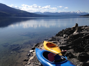Kayaks on Upper Arrow Lake
