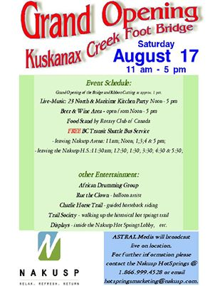 Kuskanax Creek Foot Bridge Grand Opening Celebration